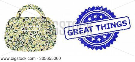 Military Camouflage Combination Of Handbag, And Great Things Rubber Rosette Stamp Seal. Blue Stamp S