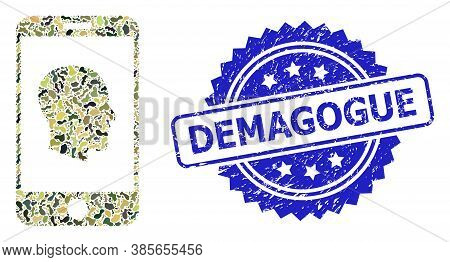 Military Camouflage Combination Of Cellphone Profile, And Demagogue Dirty Rosette Stamp Seal. Blue S