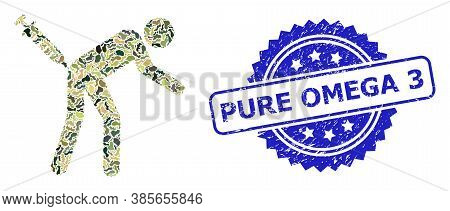Military Camouflage Collage Of Man Vaccination, And Pure Omega 3 Rubber Rosette Seal Imitation. Blue