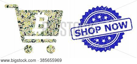 Military Camouflage Collage Of Bitcoin Webshop, And Shop Now Corroded Rosette Stamp Seal. Blue Stamp