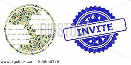 Military Camouflage Combination Of Hands Circle, And Invite Dirty Rosette Seal Imitation. Blue Seal