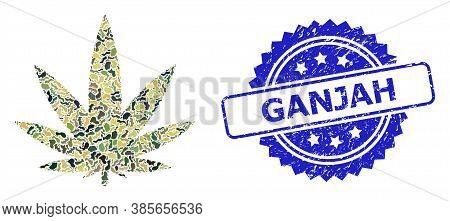 Military Camouflage Combination Of Cannabis, And Ganjah Scratched Rosette Stamp. Blue Stamp Seal Inc