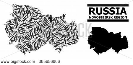 Vaccine Mosaic And Solid Map Of Novosibirsk Region. Vector Map Of Novosibirsk Region Is Constructed