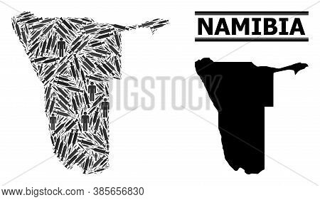 Virus Therapy Mosaic And Solid Map Of Namibia. Vector Map Of Namibia Is Composed Of Vaccine Symbols