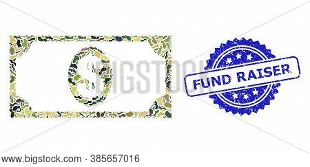 Military Camouflage Combination Of Usd Banknote, And Fund Raiser Scratched Rosette Seal Print. Blue