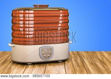 Electric Food Dehydrator On The Wooden Table. 3d Rendering