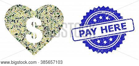 Military Camouflage Composition Of Love Price, And Pay Here Unclean Rosette Seal Print. Blue Stamp S