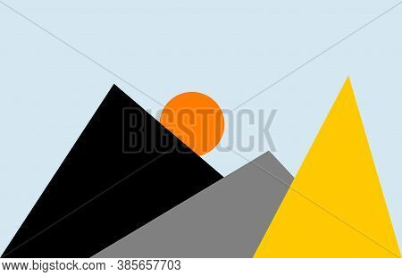 Minimalist Wall Art. Poster Design With Black And Red Triangles. Minimalist Digital Poster. Instant
