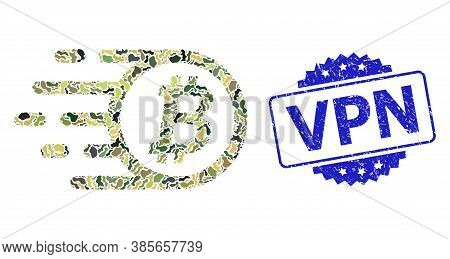 Military Camouflage Combination Of Bitcoin, And Vpn Rubber Rosette Seal. Blue Seal Has Vpn Title Ins