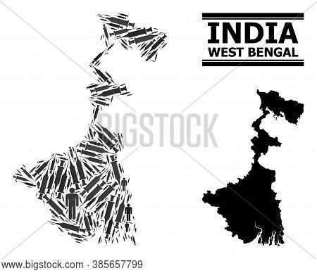 Vaccine Mosaic And Solid Map Of West Bengal State. Vector Map Of West Bengal State Is Composed With
