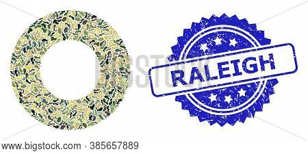 Military Camouflage Collage Of Donut, And Raleigh Unclean Rosette Seal Print. Blue Stamp Seal Has Ra