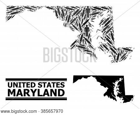 Covid-2019 Treatment Mosaic And Solid Map Of Maryland State. Vector Map Of Maryland State Is Constru