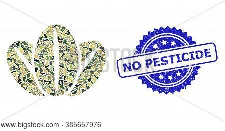 Military Camouflage Collage Of Coffee Beans, And No Pesticide Rubber Rosette Seal Imitation. Blue St