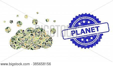 Military Camouflage Collage Of Cloud Emission, And Planet Scratched Rosette Stamp Seal. Blue Stamp S