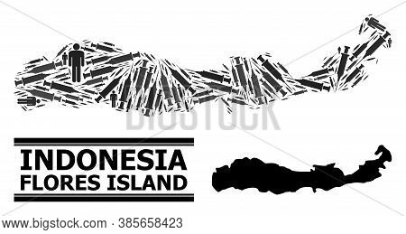 Virus Therapy Mosaic And Solid Map Of Indonesia - Flores Island. Vector Map Of Indonesia - Flores Is