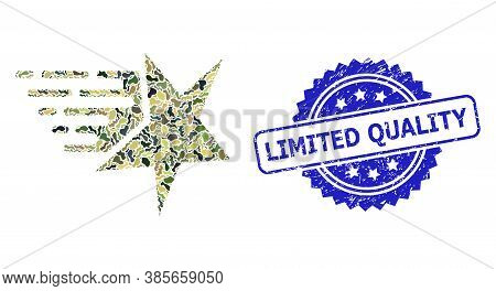 Military Camouflage Collage Of Star, And Limited Quality Dirty Rosette Seal Print. Blue Seal Include