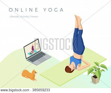Isometric Sporty Young Woman Doing Yoga Practice. Fitness Instructor Taking Online Yoga Classes Over