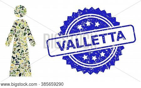 Military Camouflage Combination Of Woman, And Valletta Grunge Rosette Seal Print. Blue Stamp Seal In