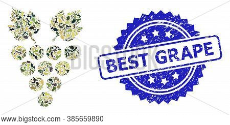 Military Camouflage Collage Of Grape, And Best Grape Rubber Rosette Seal. Blue Stamp Seal Includes B