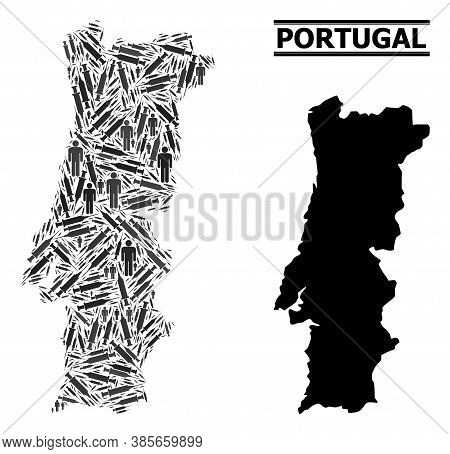 Syringe Mosaic And Solid Map Of Portugal. Vector Map Of Portugal Is Made With Injection Needles And