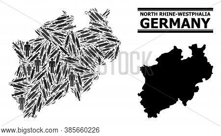 Inoculation Mosaic And Solid Map Of North Rhine-westphalia State. Vector Map Of North Rhine-westphal