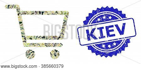 Military Camouflage Combination Of Shopping Cart, And Kiev Dirty Rosette Seal. Blue Seal Has Kiev Ta