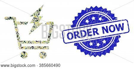 Military Camouflage Collage Of Proceed Purchase, And Order Now Dirty Rosette Stamp Seal. Blue Stamp