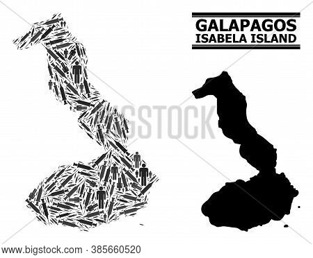 Vaccine Mosaic And Solid Map Of Galapagos - Isabela Island. Vector Map Of Galapagos - Isabela Island