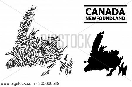 Covid-2019 Treatment Mosaic And Solid Map Of Newfoundland Island. Vector Map Of Newfoundland Island