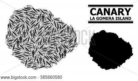 Inoculation Mosaic And Solid Map Of La Gomera Island. Vector Map Of La Gomera Island Is Created With