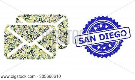 Military Camouflage Collage Of Letters, And San Diego Grunge Rosette Seal Imitation. Blue Stamp Has