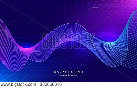 Abstract Wave Element With Perspective Mesh With Depth Of Field Effect For Design. Grid. Digital Equ