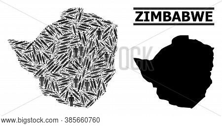 Covid-2019 Treatment Mosaic And Solid Map Of Zimbabwe. Vector Map Of Zimbabwe Is Composed From Vacci