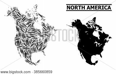 Inoculation Mosaic And Solid Map Of North America. Vector Map Of North America Is Made Of Inoculatio