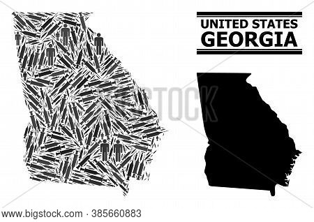 Covid-2019 Treatment Mosaic And Solid Map Of Georgia State. Vector Map Of Georgia State Is Created F