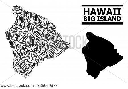 Covid-2019 Treatment Mosaic And Solid Map Of Hawaii Big Island. Vector Map Of Hawaii Big Island Is C