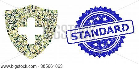 Military Camouflage Combination Of Medical Shield, And Standard Rubber Rosette Stamp Seal. Blue Stam