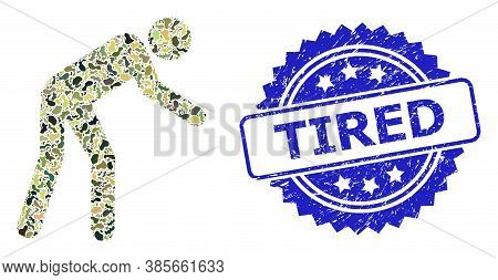 Military Camouflage Combination Of Tired Person, And Tired Rubber Rosette Stamp Seal. Blue Seal Incl