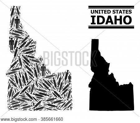 Virus Therapy Mosaic And Solid Map Of Idaho State. Vector Map Of Idaho State Is Formed From Vaccine