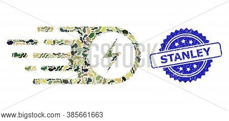 Military Camouflage Composition Of Electrical Strike, And Stanley Dirty Rosette Seal Imitation. Blue