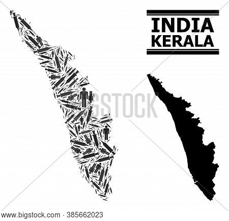 Covid-2019 Treatment Mosaic And Solid Map Of Kerala State. Vector Map Of Kerala State Is Created Fro