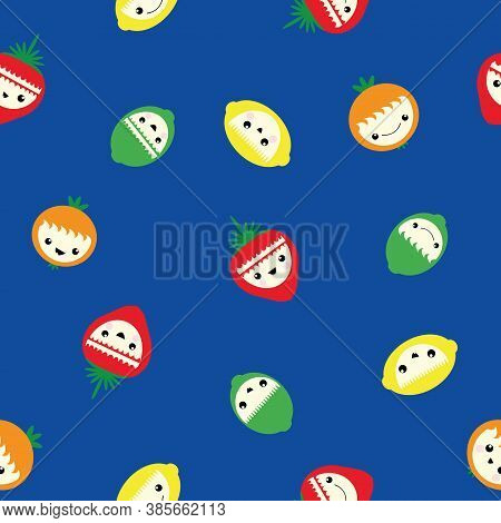 Cute Kawaii Citrus Fruit And Strawberry Seamless Vector Pattern Background. Laughing Cartoon Lemons,