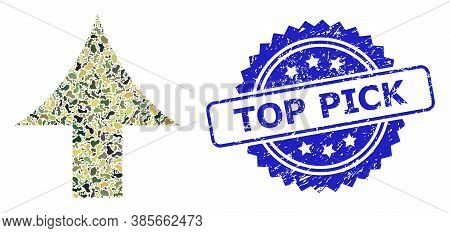 Military Camouflage Collage Of Up Arrow, And Top Pick Unclean Rosette Seal Print. Blue Seal Contains
