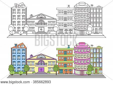 Residential Multi-storey Colorful Houses Near The Road. Coloring.
