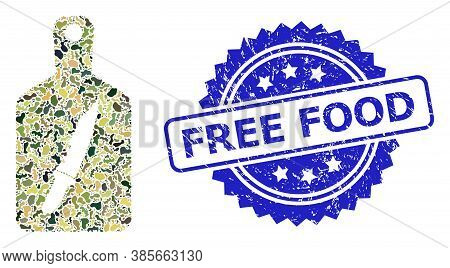 Military Camouflage Composition Of Cutting Board, And Free Food Unclean Rosette Seal Print. Blue Sea
