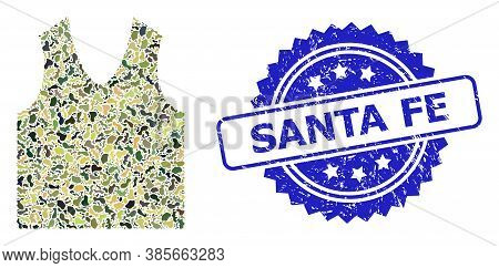 Military Camouflage Collage Of Gilet, And Santa Fe Rubber Rosette Seal Imitation. Blue Stamp Seal Co