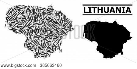Vaccine Mosaic And Solid Map Of Lithuania. Vector Map Of Lithuania Is Organized Of Vaccine Symbols A
