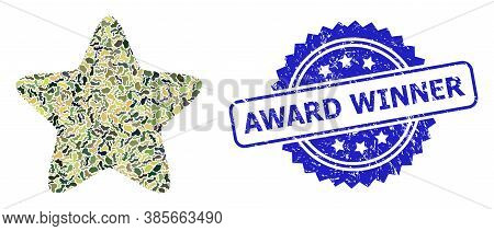 Military Camouflage Collage Of Red Star, And Award Winner Rubber Rosette Stamp Seal. Blue Stamp Seal