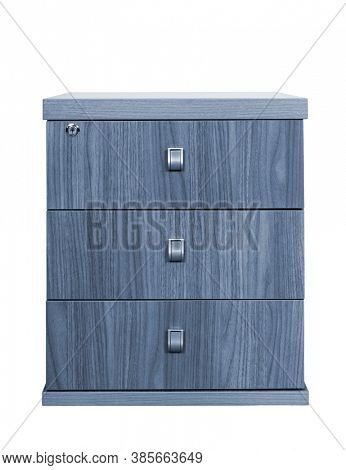 wooden desk cupboard on a white background