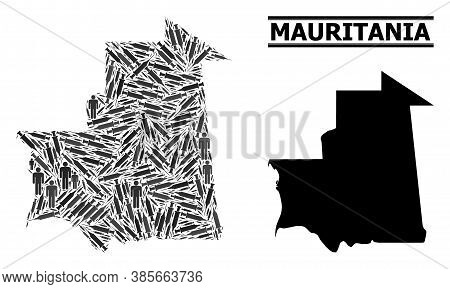 Inoculation Mosaic And Solid Map Of Mauritania. Vector Map Of Mauritania Is Organized Of Inoculation